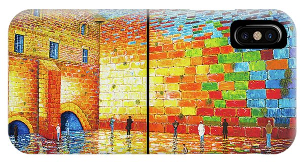 IPhone Case featuring the painting Western Wall Jerusalem Wailing Wall Acrylic Painting 2 Panels by Georgeta Blanaru