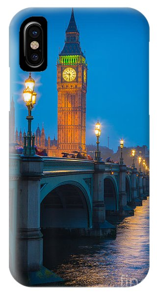 City iPhone Case - Westminster Bridge At Night by Inge Johnsson