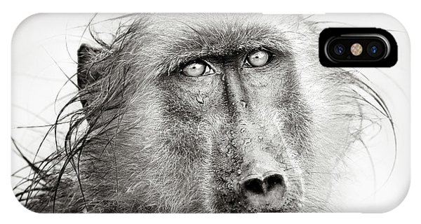 Monochrome iPhone Case - Wet Baboon Portrait by Johan Swanepoel