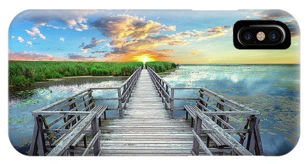 Wetland Marsh Sunrise Treasure Coast Florida Boardwalk A1 IPhone Case