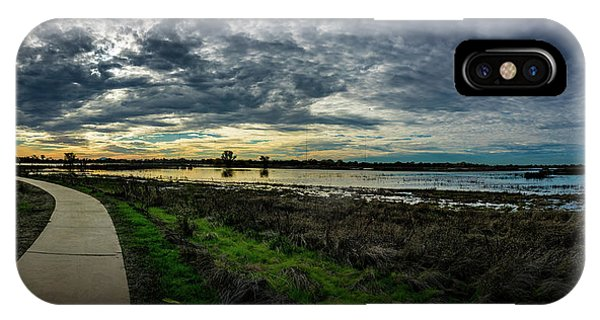 Wetlands Sunset Panorama IPhone Case