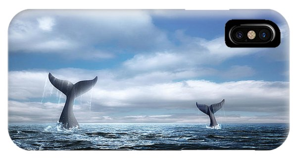 Fins iPhone Case - Whale Of A Tail by Tom Mc Nemar