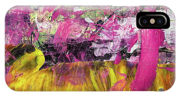 Whatever Makes You Happy - Large Pink And Yellow Abstract Painting IPhone Case