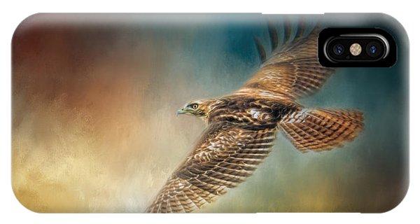 When The Redtail Flies At Sunset Hawk Art IPhone Case