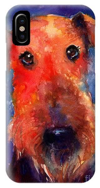 Whimsical Airedale Dog Painting IPhone Case
