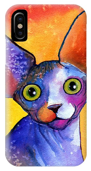 Whimsical Sphynx Cat Painting IPhone Case