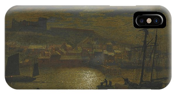 English Village iPhone Case - Whitby From Scotch Head Moonlight On The Esk by John Atkinson Grimshaw
