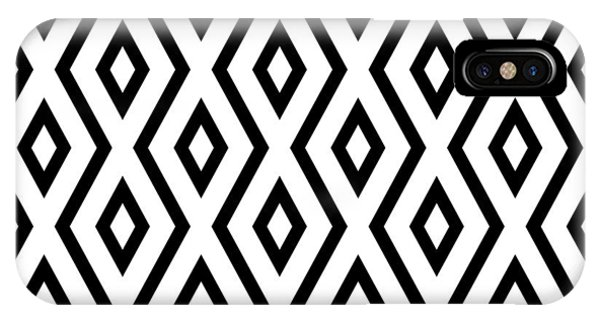 Diamond iPhone Case - White And Black Pattern by Christina Rollo