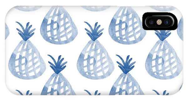 Fruit iPhone Case - White And Blue Pineapple Party by Linda Woods