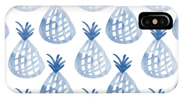 Pattern iPhone Case - White And Blue Pineapple Party by Linda Woods