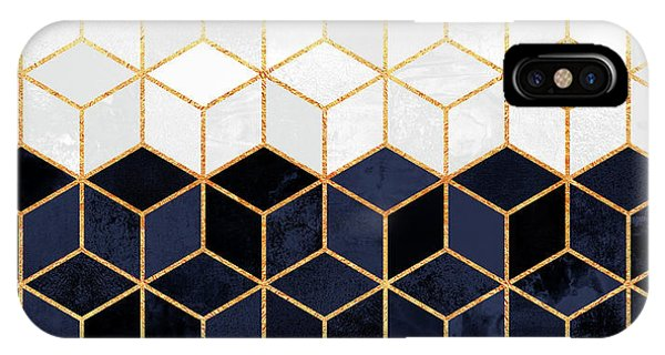 Golden iPhone Case - White And Navy Cubes by Elisabeth Fredriksson