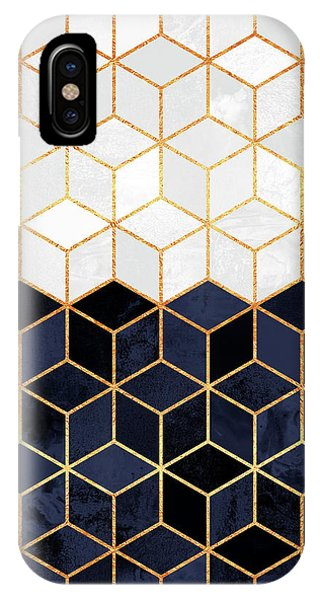 Geometric iPhone Case - White And Navy Cubes by Elisabeth Fredriksson