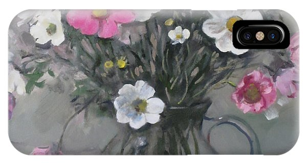 White And Pink Cosmos Bouquet In Water Pitcher No. 2 IPhone Case