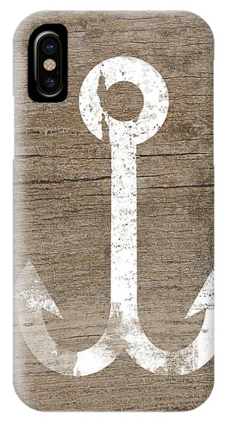 Wood iPhone Case - White And Wood Anchor- Art By Linda Woods by Linda Woods