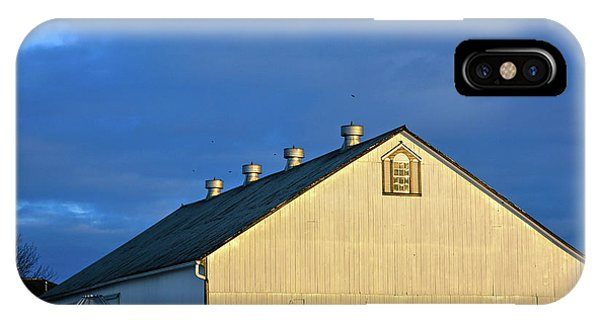 White Barn At Golden Hour IPhone Case