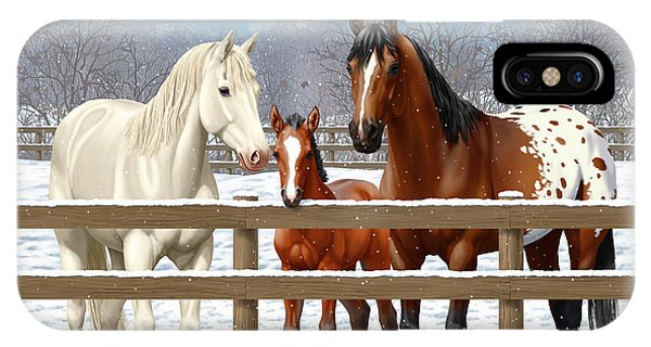 White Fence iPhone Case - White Bay Appaloosa Horses In Snow by Crista Forest