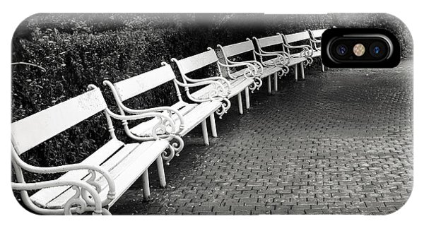 Park Bench iPhone Case - White Benches-  By Linda Wood Woods by Linda Woods