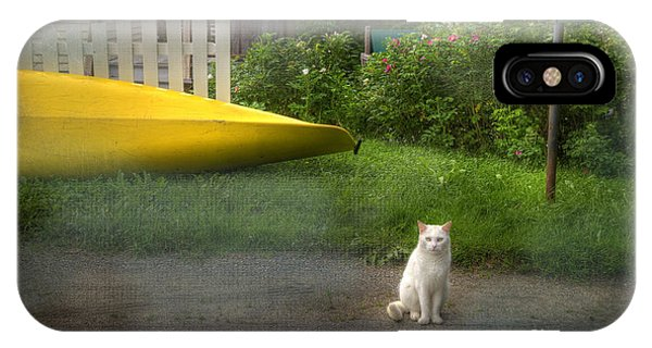 White Cat, Yellow Canoe IPhone Case