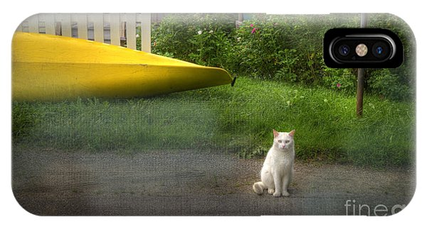 White Cat, Yellow Canoe IPhone Case