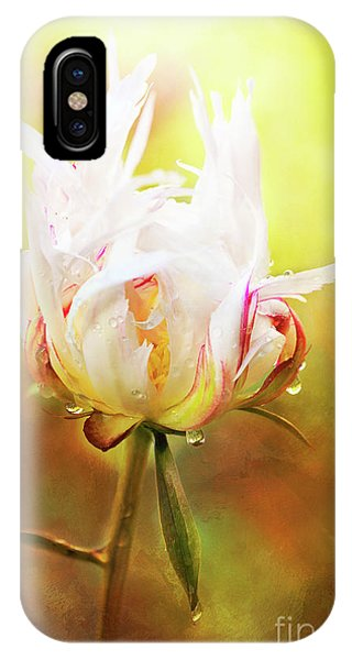 White Chinese Peony Laden With Raindrops IPhone Case