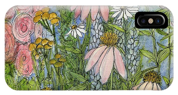 White Coneflowers In Garden IPhone Case