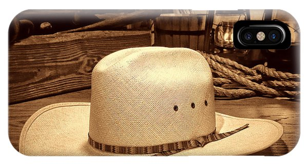 White Cowboy Hat In A Barn IPhone Case