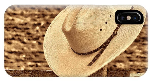 White Cowboy Hat On Fence IPhone Case
