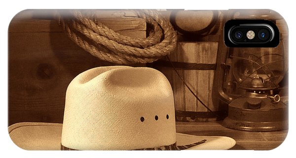 White Cowboy Hat On Workbench IPhone Case