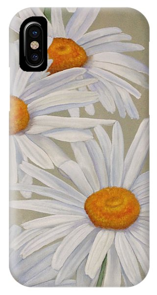 IPhone Case featuring the painting White Daisies by Angeles M Pomata