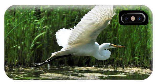 White Egret In Flight IPhone Case