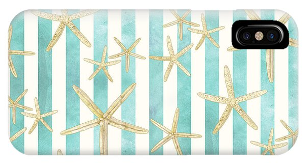 Sea iPhone X Case - White Finger Starfish Watercolor Stripe Pattern by Audrey Jeanne Roberts