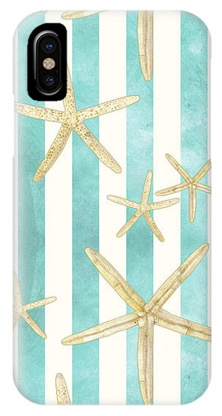 Sea iPhone Case - White Finger Starfish Watercolor Stripe Pattern by Audrey Jeanne Roberts