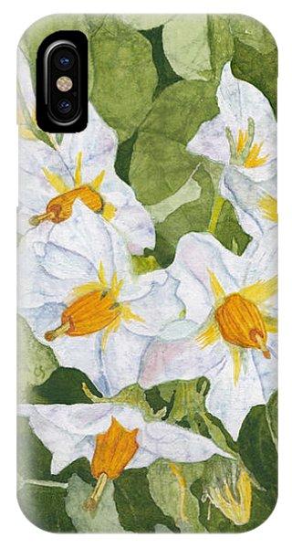 White Garden Blossoms Watercolor On Masa Paper IPhone Case