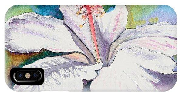 White Hibiscus Waimeae IPhone Case
