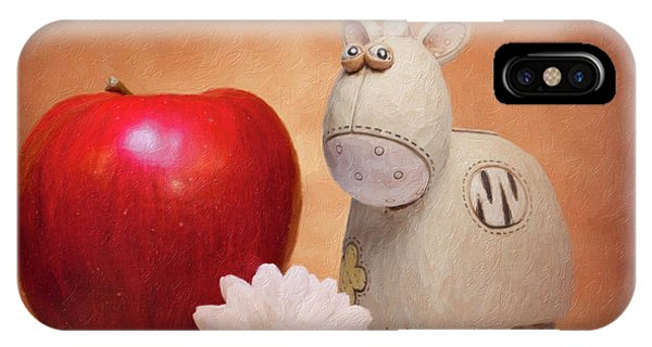 White Horse iPhone Case - White Horse With Apple by Tom Mc Nemar
