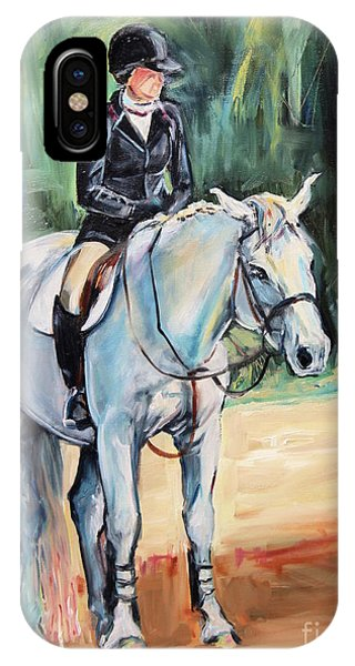 iPhone Case - White Horse With Rider  by Maria Reichert