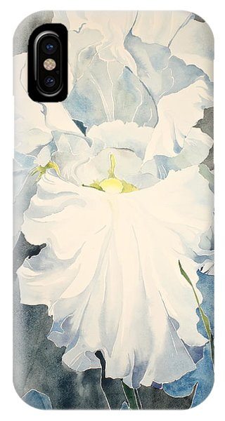 IPhone Case featuring the painting White Iris - For Van Gogh - Posthumously Presented Paintings Of Sachi Spohn   by Cliff Spohn