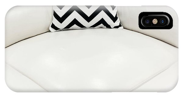 White Leather Sofa With Decorative Cushion IPhone Case
