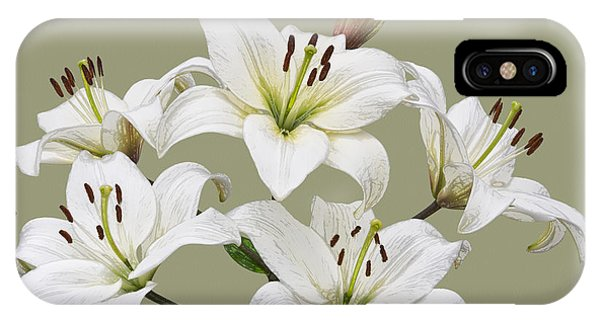 White Lilies Illustration IPhone Case