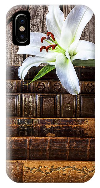 White Lily On Antique Books IPhone Case