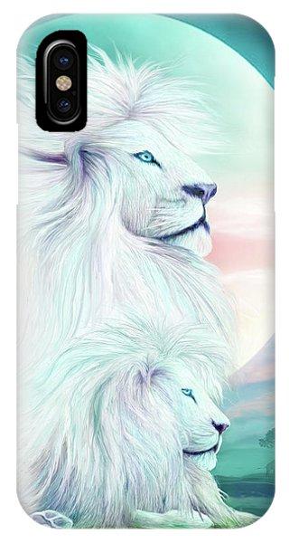 African Lion Art iPhone Case - White Lion - Spirit King by Carol Cavalaris