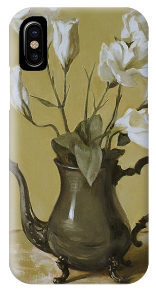 White Lisianthus In Silver Coffeepot IPhone Case