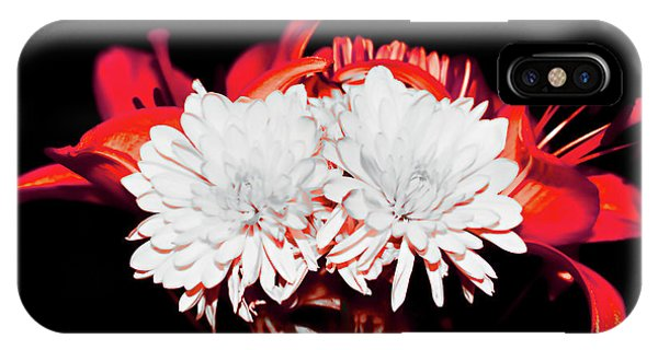 White Mums And Red Lilies IPhone Case