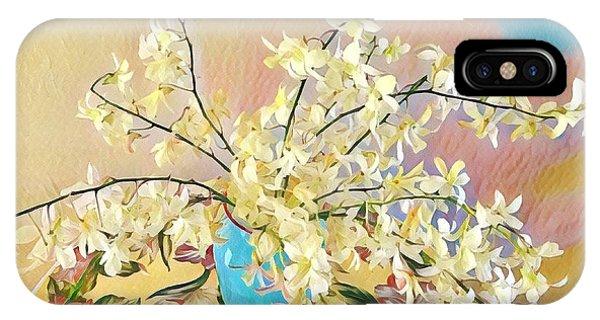 White Orchid Bouquet Pink/blue IPhone Case