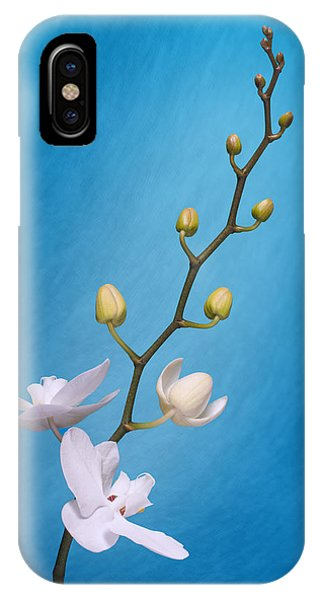 Orchid iPhone Case - White Orchid Buds On Blue by Tom Mc Nemar