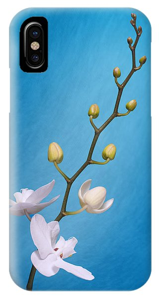 Bloom iPhone Case - White Orchid Buds On Blue by Tom Mc Nemar