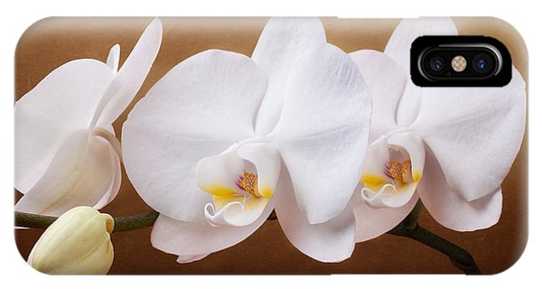 Orchid iPhone X Case - White Orchid Flowers And Bud by Tom Mc Nemar
