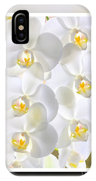 White Orchids Framed IPhone Case
