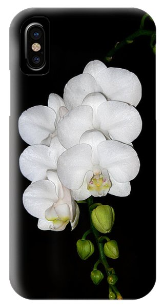 White Orchids On Black IPhone Case