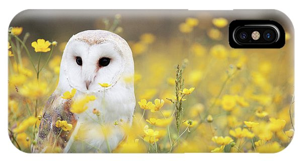 Yellow Flowers iPhone Case - White Owl by Happy Home Artistry
